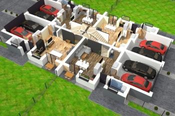 Bierzglinek - domy jednorodzinne - wizualizacja parteru