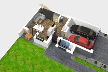 Bierzglinek - domy jednorodzinne - wizualizacja parteru - segment