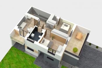 Bierzglinek - domy jednorodzinne - wizualizacja piętra - segment
