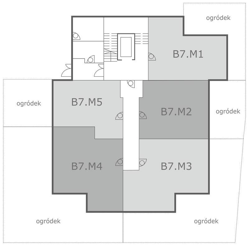 Rozmieszczenie mieszkań na parterze ul. Pilska, Września, Nowbud