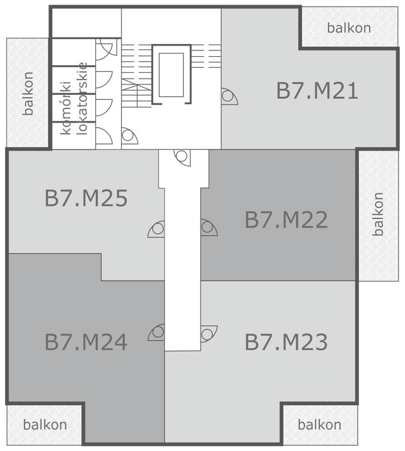 Rozmieszczenie mieszkań na 4 piętrze, ul. Pilska, Września, Nowbud