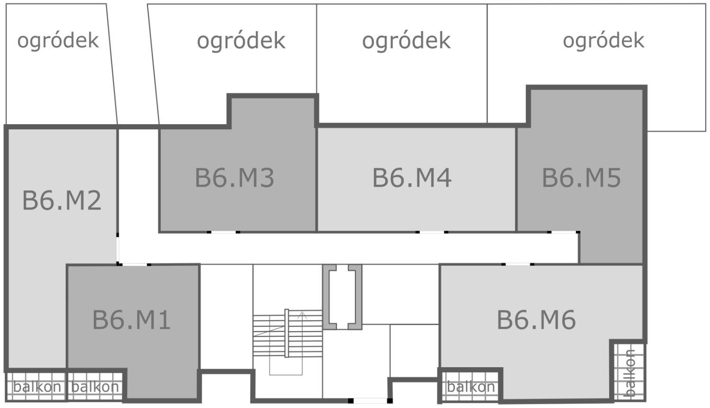 Rozmieszczenie mieszkań w budynku B6 na parterze, gnieźnieńska, armii poznań, kutrzeby